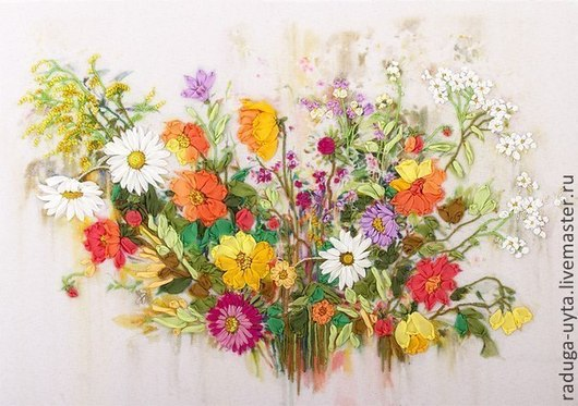 Картины цветов ручной работы. Ярмарка Мастеров - ручная работа. Купить Краски лета. Handmade. Картины вышитая лентами, лето