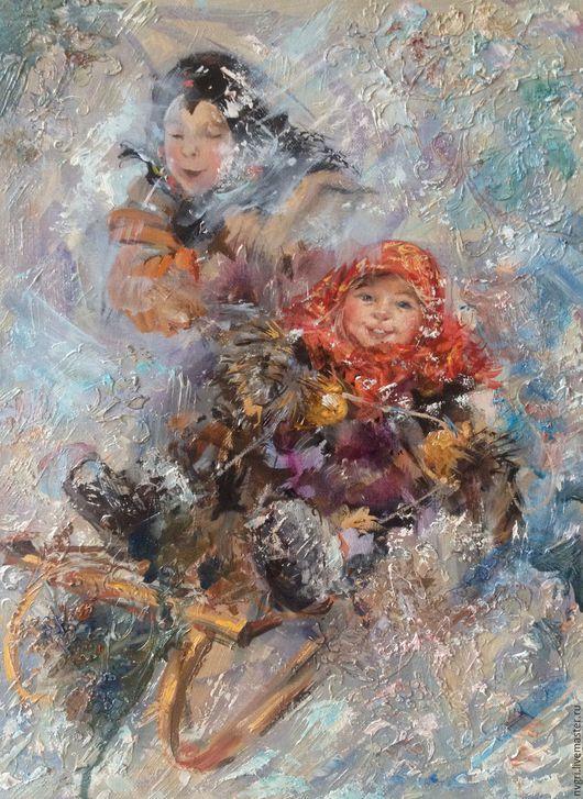 """Люди, ручной работы. Ярмарка Мастеров - ручная работа. Купить Картина """"Зимние каникулы"""".. Handmade. Комбинированный, зима"""