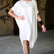 Одежда handmade. Livemaster - original item White cotton dress with viscose - DR0205CV. Handmade.