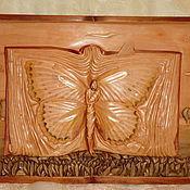 Картины и панно ручной работы. Ярмарка Мастеров - ручная работа Картина из дерева Пейзаж с бабочками Художественная резьба. Handmade.
