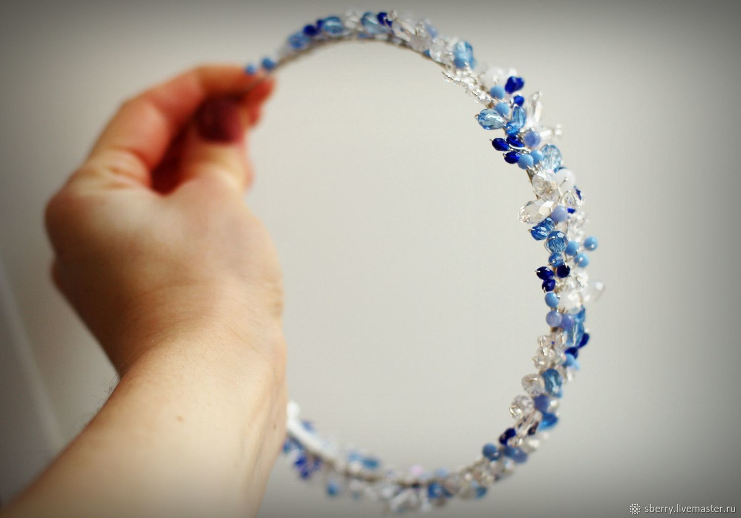 Blue headband for hair Gzhel from beads and jewelry wire, Headband, St. Petersburg,  Фото №1