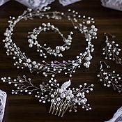 Свадебный салон handmade. Livemaster - original item Wedding necklaces, earrings, comb and bracelet, white or ivory. Handmade.