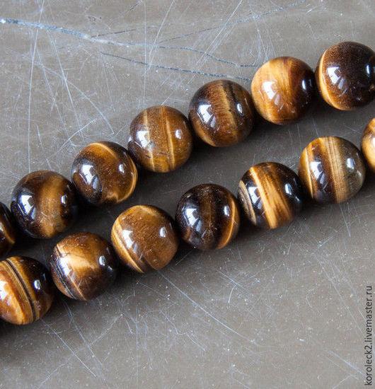 Для украшений ручной работы. Ярмарка Мастеров - ручная работа. Купить Глянцевые круглые бусины из тигрового глаза. Handmade. коричневый