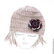 Аксессуары handmade. Livemaster - original item Knitted hat for girls, boho style, beige. In the fall, spring. Handmade.
