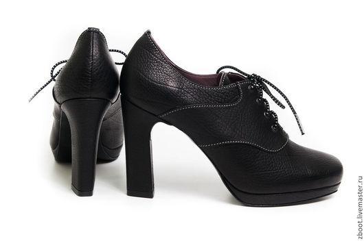 Обувь ручной работы. Ярмарка Мастеров - ручная работа. Купить Ботильоны Cross. Handmade. Черный, кожаные туфли