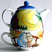 """Посуда ручной работы. Ярмарка Мастеров - ручная работа Чайный набор """"Влюбленные муми-тролли"""". Handmade."""