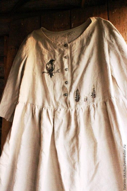 """Платья ручной работы. Ярмарка Мастеров - ручная работа. Купить Платье """"Пернатое"""". Handmade. Серый, платье с вышивкой, деревянные пуговицы"""