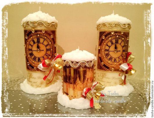 """Новый год 2017 ручной работы. Ярмарка Мастеров - ручная работа. Купить Свечи интерьерные """"Пока часы 12 бьют"""". Handmade."""