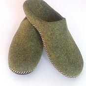 Обувь ручной работы handmade. Livemaster - original item Mens felted Slippers from natural wool. Handmade.
