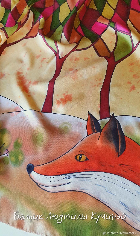 """Батик. Шейный платок """"Осенние лисы."""" шелк нат, Платки, Санкт-Петербург,  Фото №1"""