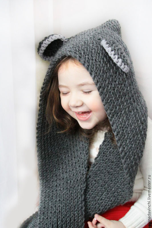 Knitted hood-scarf 'Mouse', Hoods, Moscow,  Фото №1