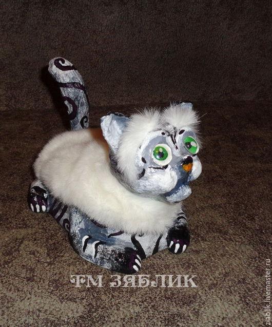 Игрушки животные, ручной работы. Ярмарка Мастеров - ручная работа. Купить Серый кот копилка. Handmade. Серый, копилка, клей