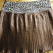 Одежда ручной работы. Ярмарка Мастеров - ручная работа Коричневая юбка плиссе на леопардовом поясе. Handmade.