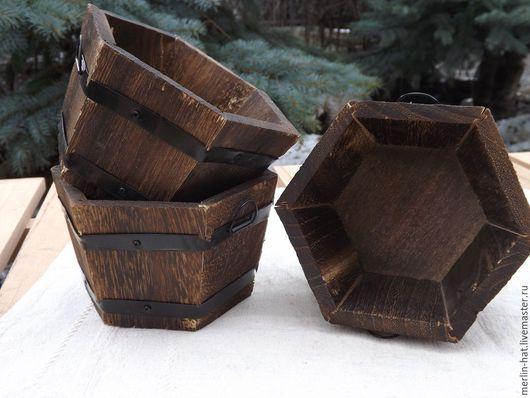 """Кашпо ручной работы. Ярмарка Мастеров - ручная работа. Купить Деревянное кашпо """"Кадка"""" шестиугольник. Handmade. Кашпо, горшок для цветов"""