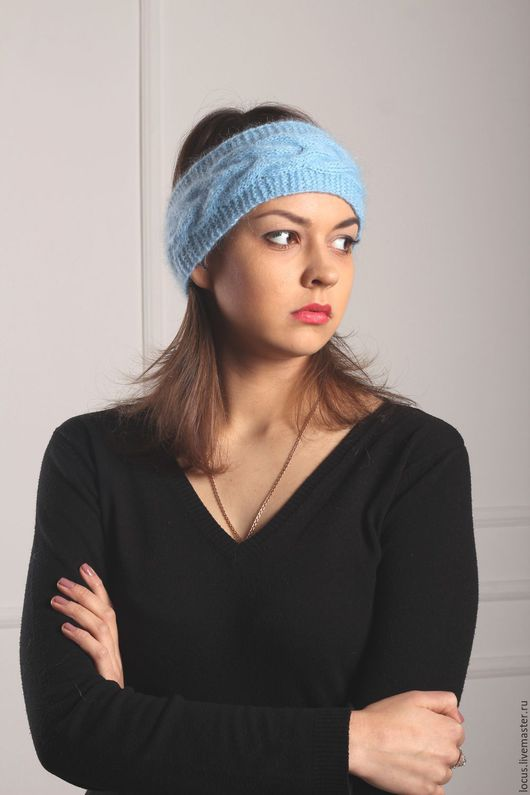 Повязки ручной работы. Ярмарка Мастеров - ручная работа. Купить Нежно голубая повязка на голову. Handmade. Голубой, повязка для девочки