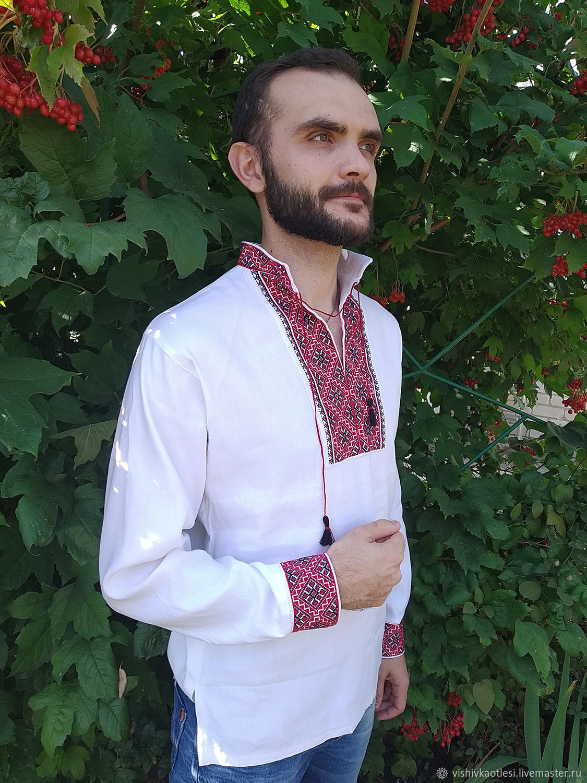 Мужская вышиванка. Ручная вышивка крестом, Рубашки, Днепр, Фото №1