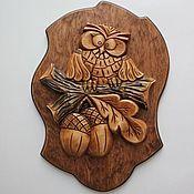 """Картины и панно ручной работы. Ярмарка Мастеров - ручная работа Панно """"Совенок"""". Handmade."""