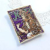 Украшения handmade. Livemaster - original item Brooch picture Alphonse Mucha JOB with the embroidery. Handmade.