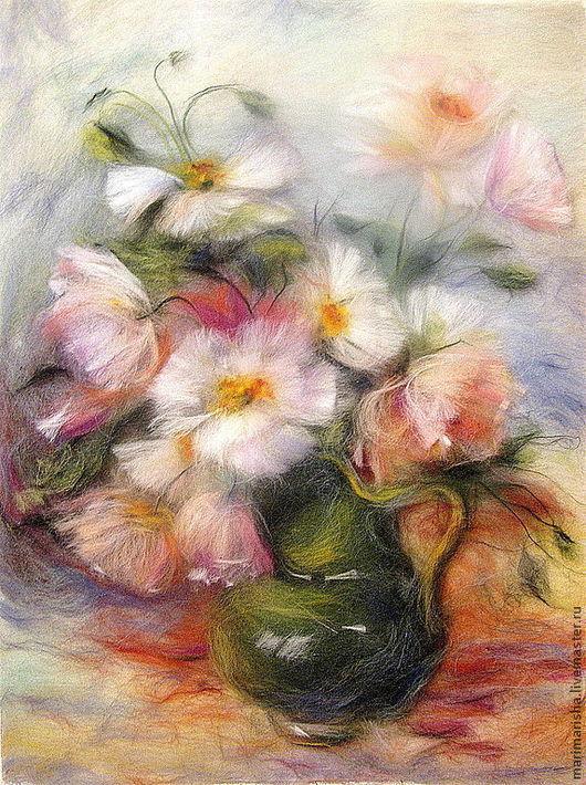 Картины цветов ручной работы. Ярмарка Мастеров - ручная работа. Купить Картина из шерсти Нежность. Белые и розовые маки. Handmade.