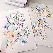 Картины и панно handmade. Livemaster - original item Flowers and birds!. Handmade.