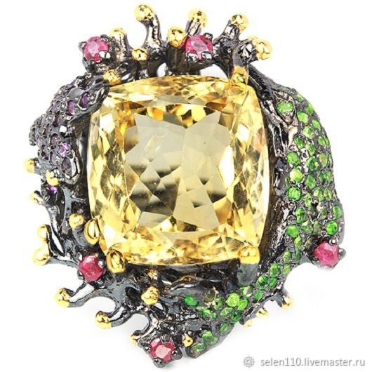 Ring 'holiday romance' with citrine, rubies and tsavorite garnets, Rings, Voronezh,  Фото №1