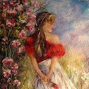 Картина из шерсти  Мечты, прекрасные, как розы...