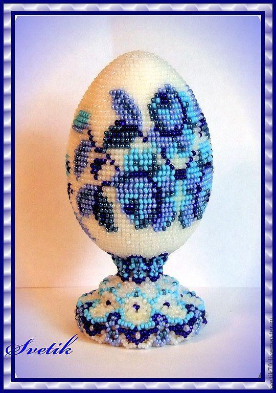 Яйцо из бисера ручное ткачество мастер класс поделка #5