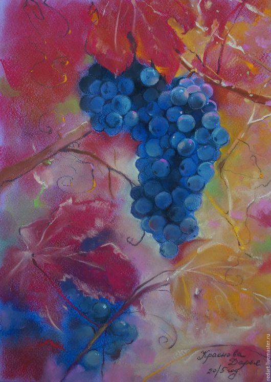 Пейзаж ручной работы. Ярмарка Мастеров - ручная работа. Купить Изабелла. Handmade. Тёмно-фиолетовый, виноград, виноградный лист