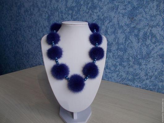 """Колье, бусы ручной работы. Ярмарка Мастеров - ручная работа. Купить Бусы из меха норки """"Синяя птица"""". Handmade."""