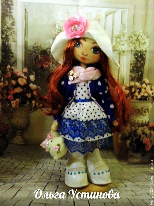 Человечки ручной работы. Ярмарка Мастеров - ручная работа. Купить кукла текслильная. Handmade. Тёмно-синий, горошек, кукла