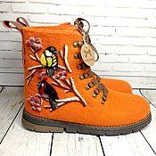 Обувь ручной работы handmade. Livemaster - original item Bullfinch and titmouse boots - size 39. Handmade.
