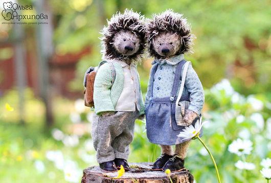 Замечательная пара ёжиков (в одежде,обуви и с сумочками), которые очень любят путешествовать, узнавать новое, знакомиться с интересными людьми. Друзья мишек Тедди.