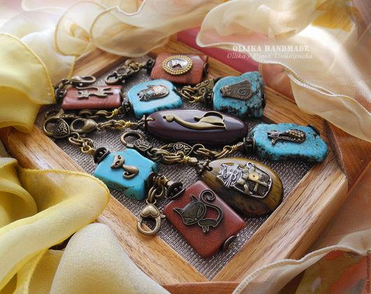Брелок Котики на Камне, украшение на сумку для ключей, агат, кошка