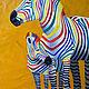 """Животные ручной работы. Заказать Картина маслом """"Разноцветные зебры. Дочки-матери"""". Сообщество художников LegacyArt. Ярмарка Мастеров."""