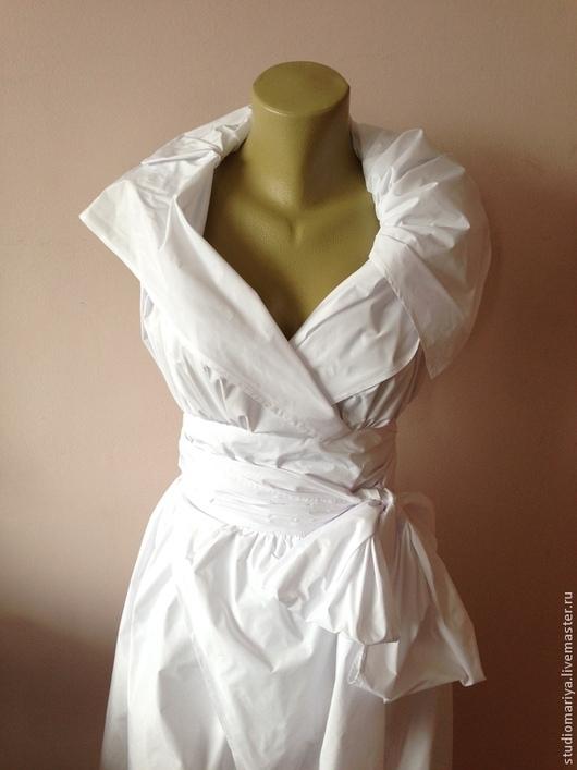 Платья ручной работы. Ярмарка Мастеров - ручная работа. Купить Коктейльное платье из тафты. Handmade. Белый, платье для выпускного