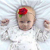 Работы для детей, handmade. Livemaster - original item Headband Red rose felt. Handmade.