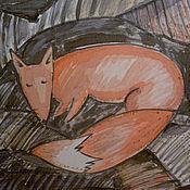 """Аксессуары ручной работы. Ярмарка Мастеров - ручная работа Батистовый платок батик """"Лис спящий"""". Handmade."""