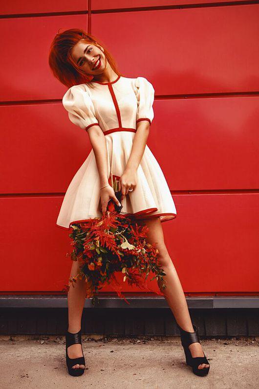 Платья ручной работы. Ярмарка Мастеров - ручная работа. Купить Молочное платье. Handmade. Неопрен, платье, платье с пышной юбкой