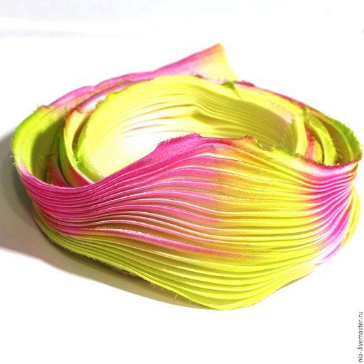 Для украшений ручной работы. Ярмарка Мастеров - ручная работа. Купить Шелковая лента Шибори желто-розовая SH4 Shibori 10 см. Handmade.