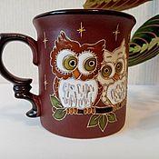 handmade. Livemaster - original item Ceramic mug handmade: Two owls. Handmade.