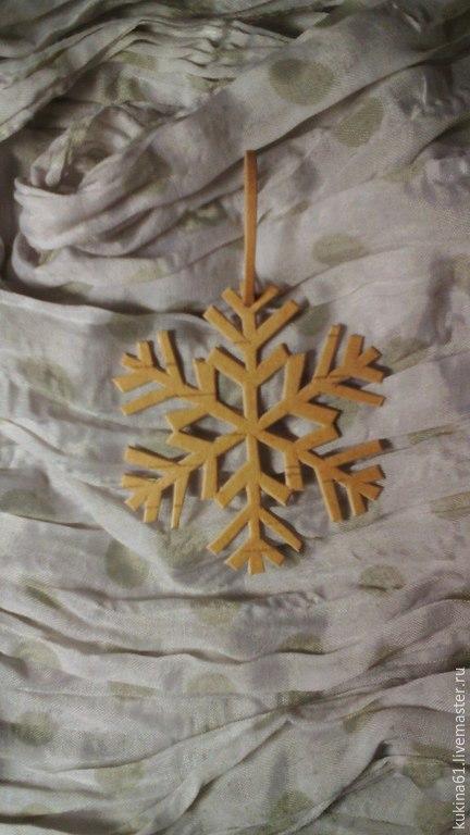 Новый год 2017 ручной работы. Ярмарка Мастеров - ручная работа. Купить снежинка №3. Handmade. Бежевый, елочная игрушка, снежинки