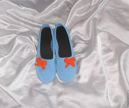 Обувь ручной работы. Ярмарка Мастеров - ручная работа. Купить Балетки. Handmade. Голубой, туфли женские, подошва ТЭП