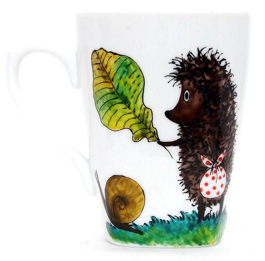 Кружки и чашки ручной работы. Ярмарка Мастеров - ручная работа. Купить Ежик в тумане - чашки. Handmade. Ежик в тумане, фарфор