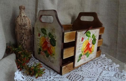 Корзины, коробы ручной работы. Ярмарка Мастеров - ручная работа. Купить Короб ящик для кухни Наливные яблоки. Handmade. Коричневый