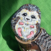 """Сувениры и подарки ручной работы. Ярмарка Мастеров - ручная работа """"Ушастый ёжик"""" сувенирный камушек. Handmade."""