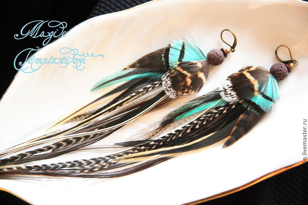 Wild turquoise feather earrings, Earrings, Moscow,  Фото №1