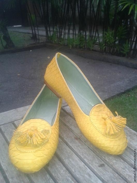 Обувь ручной работы. Ярмарка Мастеров - ручная работа. Купить Лоферы желтые. Handmade. Желтый, балетки, Балетки на заказ