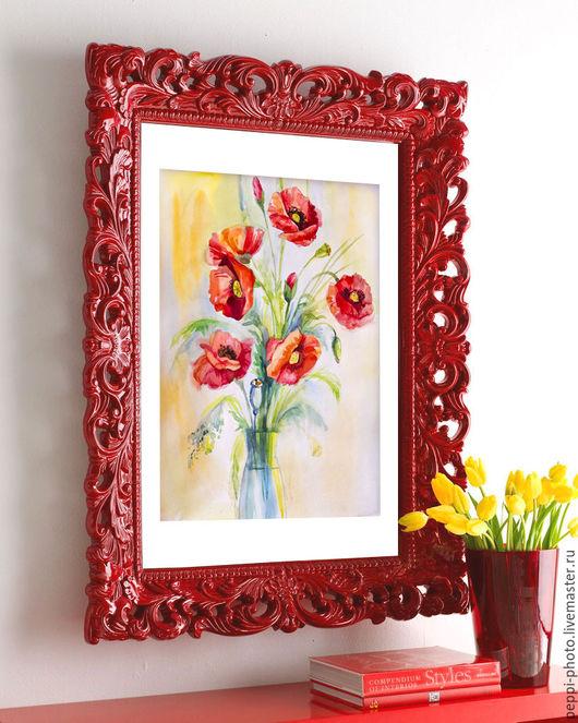 """Картины цветов ручной работы. Ярмарка Мастеров - ручная работа. Купить Акварельная картина """"Маки"""". Handmade. Ярко-красный"""