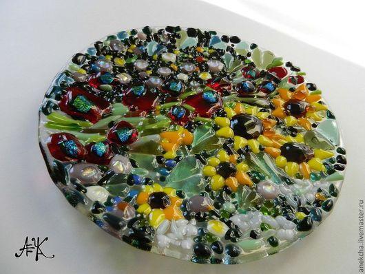 """Тарелки ручной работы. Ярмарка Мастеров - ручная работа. Купить фьюзинг тарелка """"Сад"""". Handmade. Стекло, Климт, цветы"""