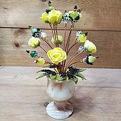 Цветы и флористика handmade. Livemaster - original item Flowers from cat`s eye (opal) and jade